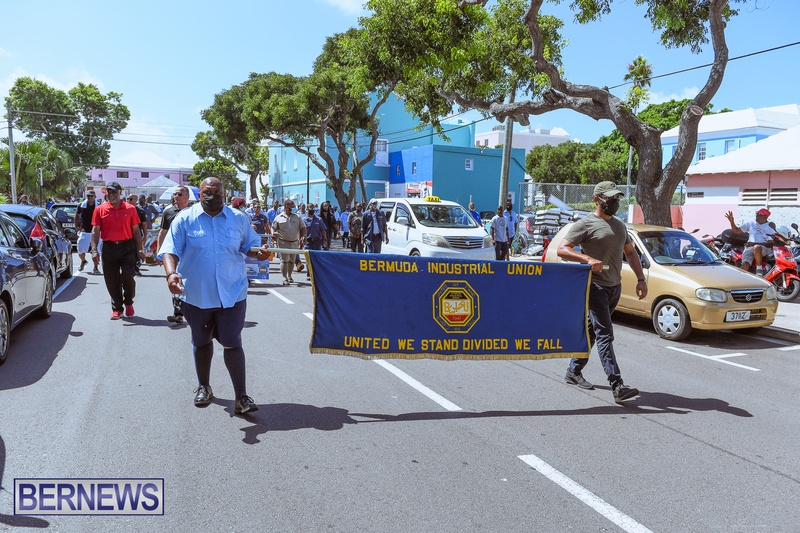BIU Union gather and march Aug 30 2021 Bermuda Bernews AW (38)