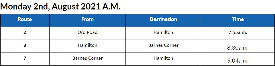 Bus Cancellations AM Bermuda August 2 2021