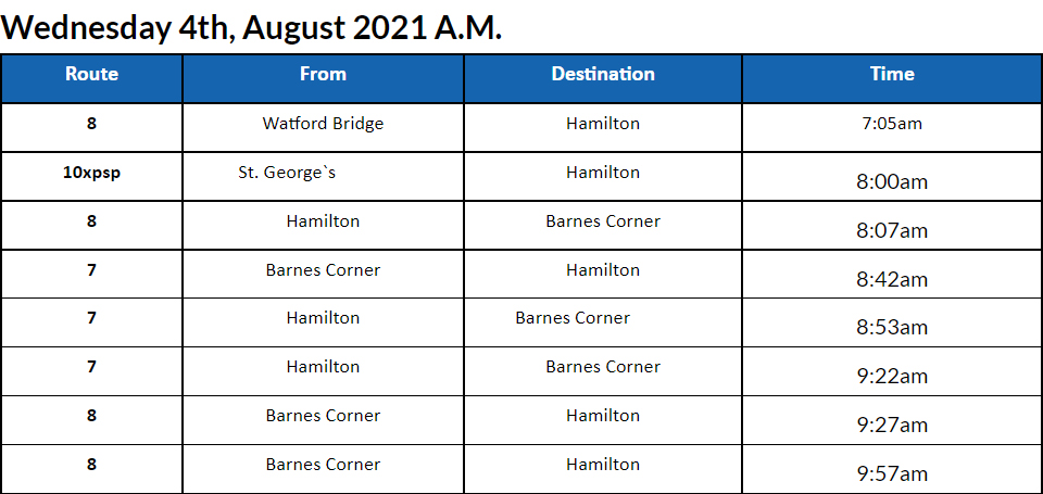 Bus Cancellations AM Bermuda August 4 2021