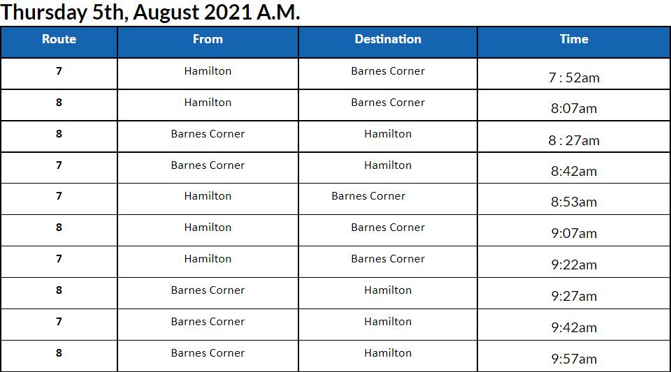 Bus Cancellations AM Bermuda August 5 2021