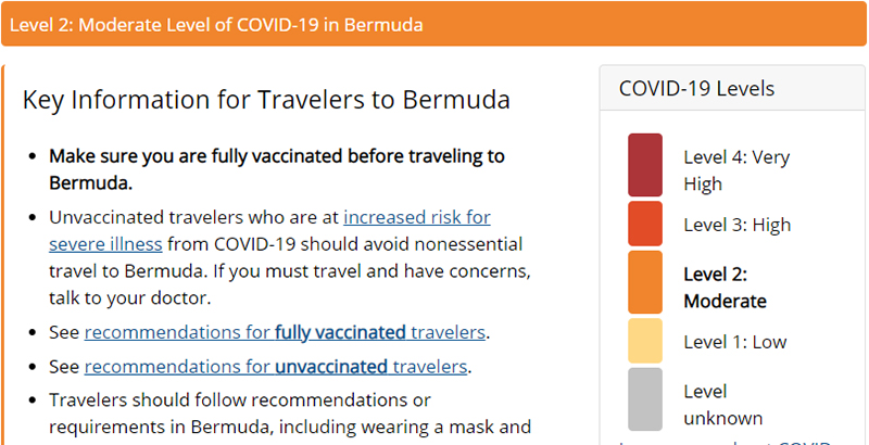 CDC Moves Bermuda To Level 2 Aug 2021
