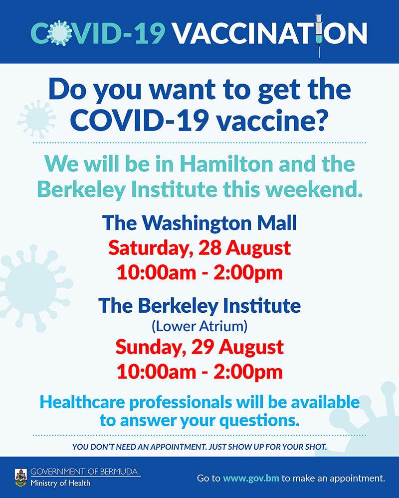 Covid Vaccine At Washington Mall & Berkeley Institute Bermuda Aug 2021