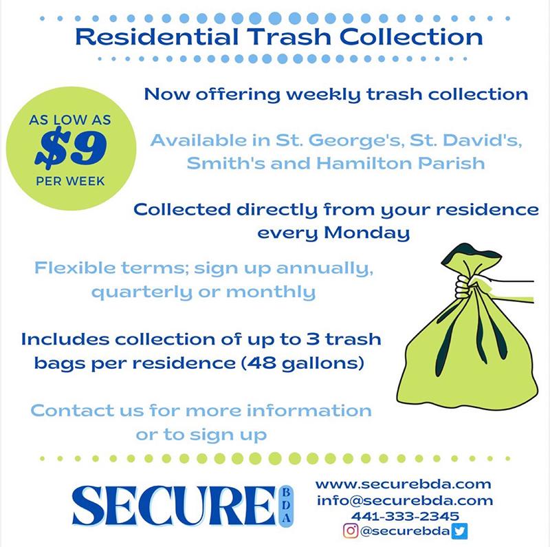 Secure BDA Weekly Trash Collection Bermuda Aug 2021