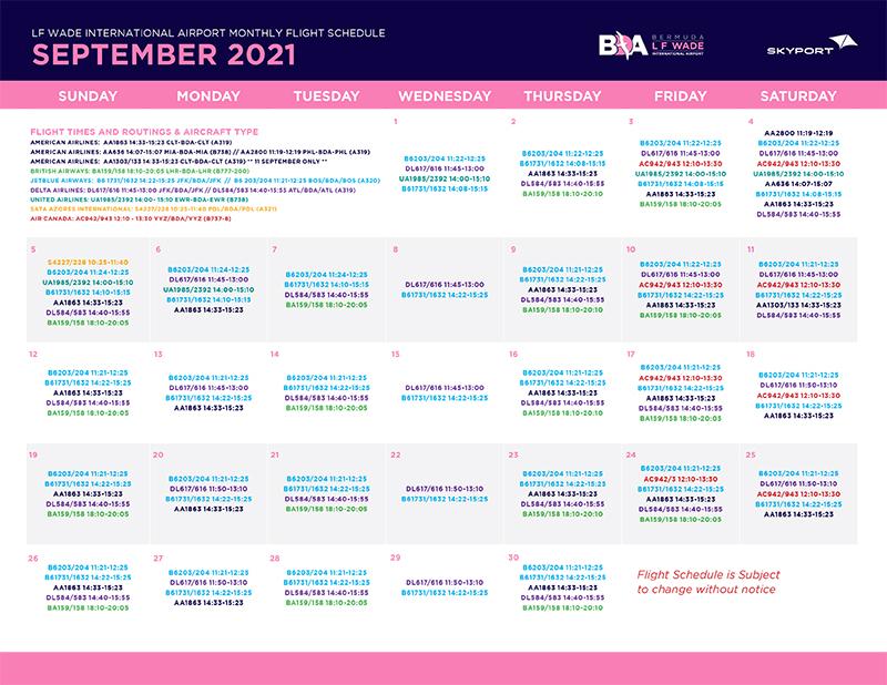Skyport September Flight Schedule
