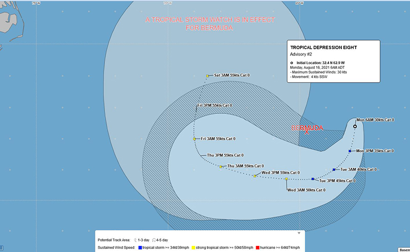 Tropical Depression Eight Bermuda August 16 2021 BWS