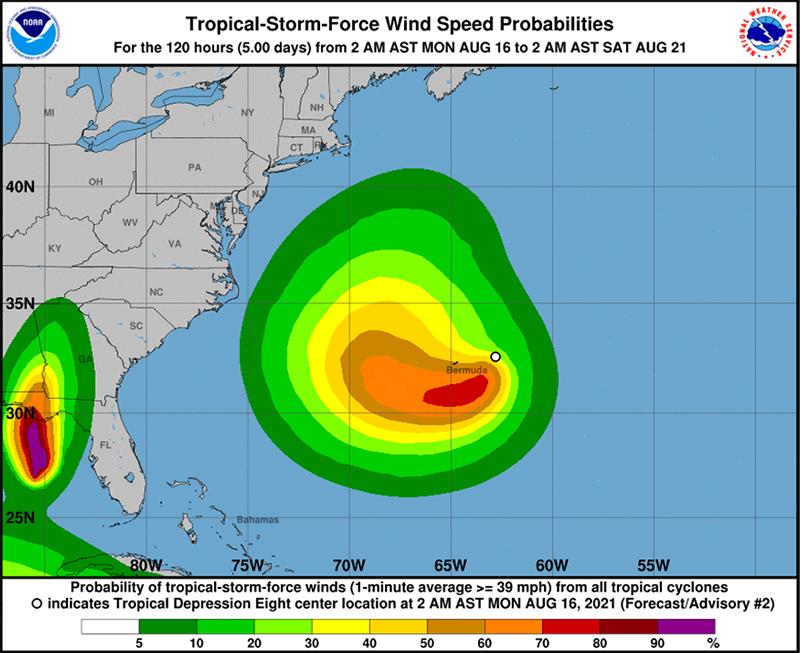 Tropical Depression Eight Bermuda August 16 2021 NHC