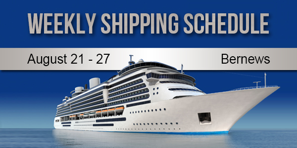 Weekly Shipping Schedule TC August 21 - 27 2021