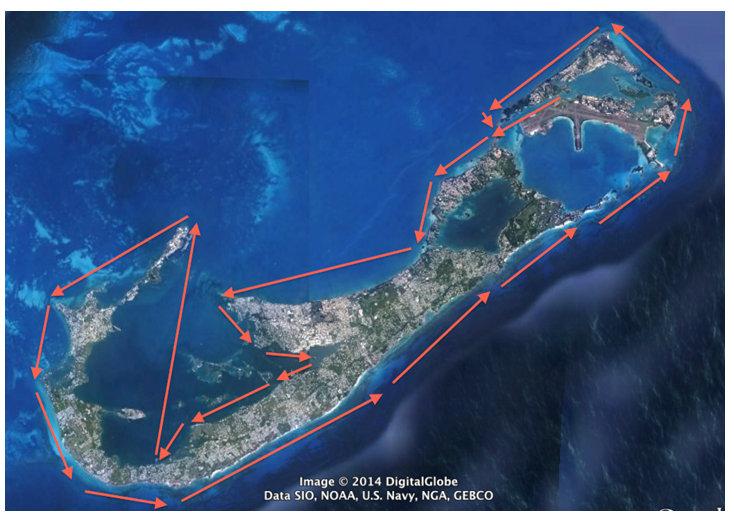 bermuda around the island race map