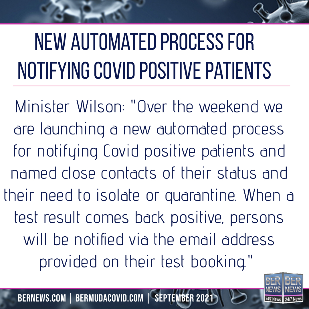 Automated Notification For Covid Positive bermuda sept 18 2021
