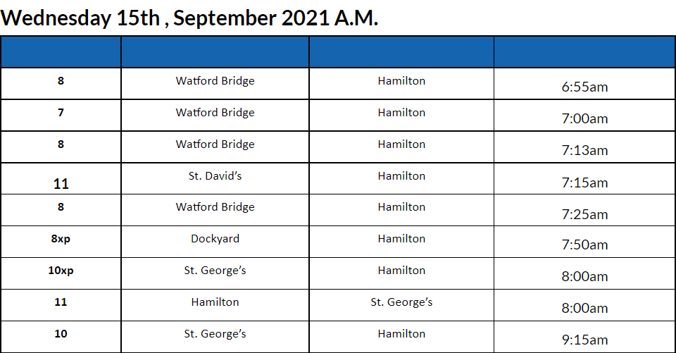 Bus Cancellation AM Bermuda September 15 2021