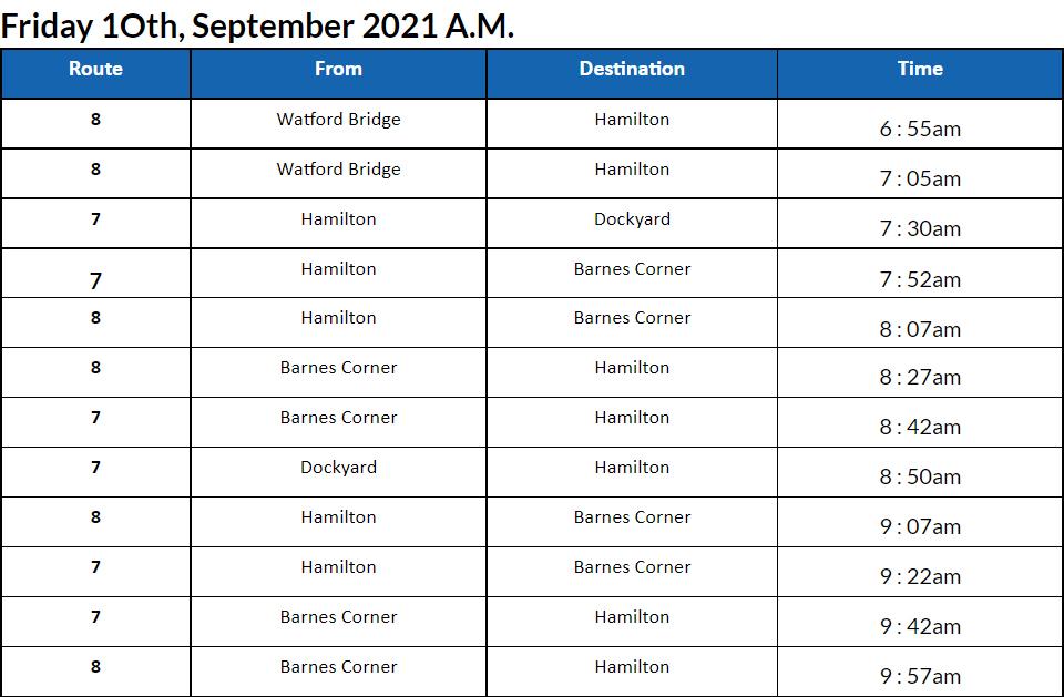Bus Cancellations AM Bermuda September 10 2021