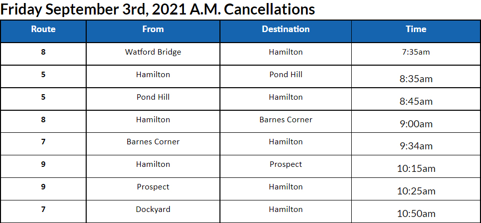 Bus Cancellations AM Bermuda September 3 2021