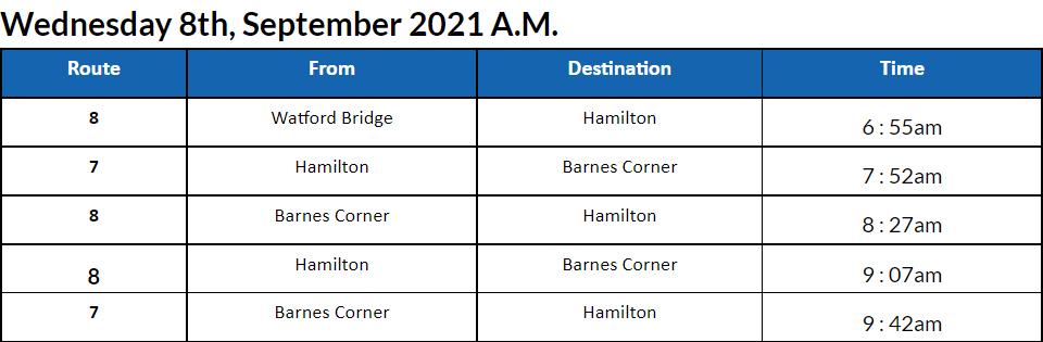 Bus Cancellations AM Bermuda September 8 2021