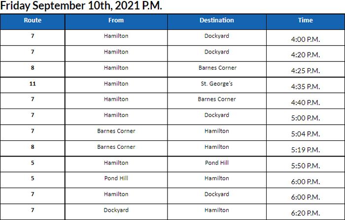 Bus Cancellations PM Bermuda September 10 2021
