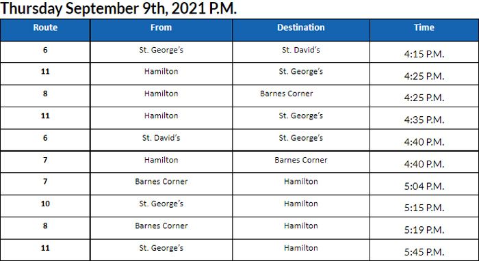 Bus Cancellations PM Bermuda September 9 2021
