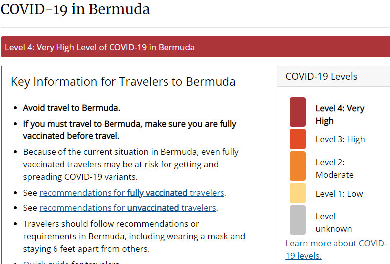 COVID-19 in Bermuda - COVID-19 Very High - Level 4 COVID-19 Very High - Travel Health Notices  Travelers' Health  CDC - Google Chrome 20092021 65820 pm