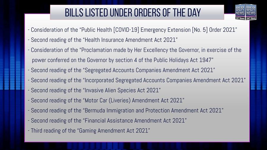 Copy of Parliament Bills order of day sept 23 2021 bermuda
