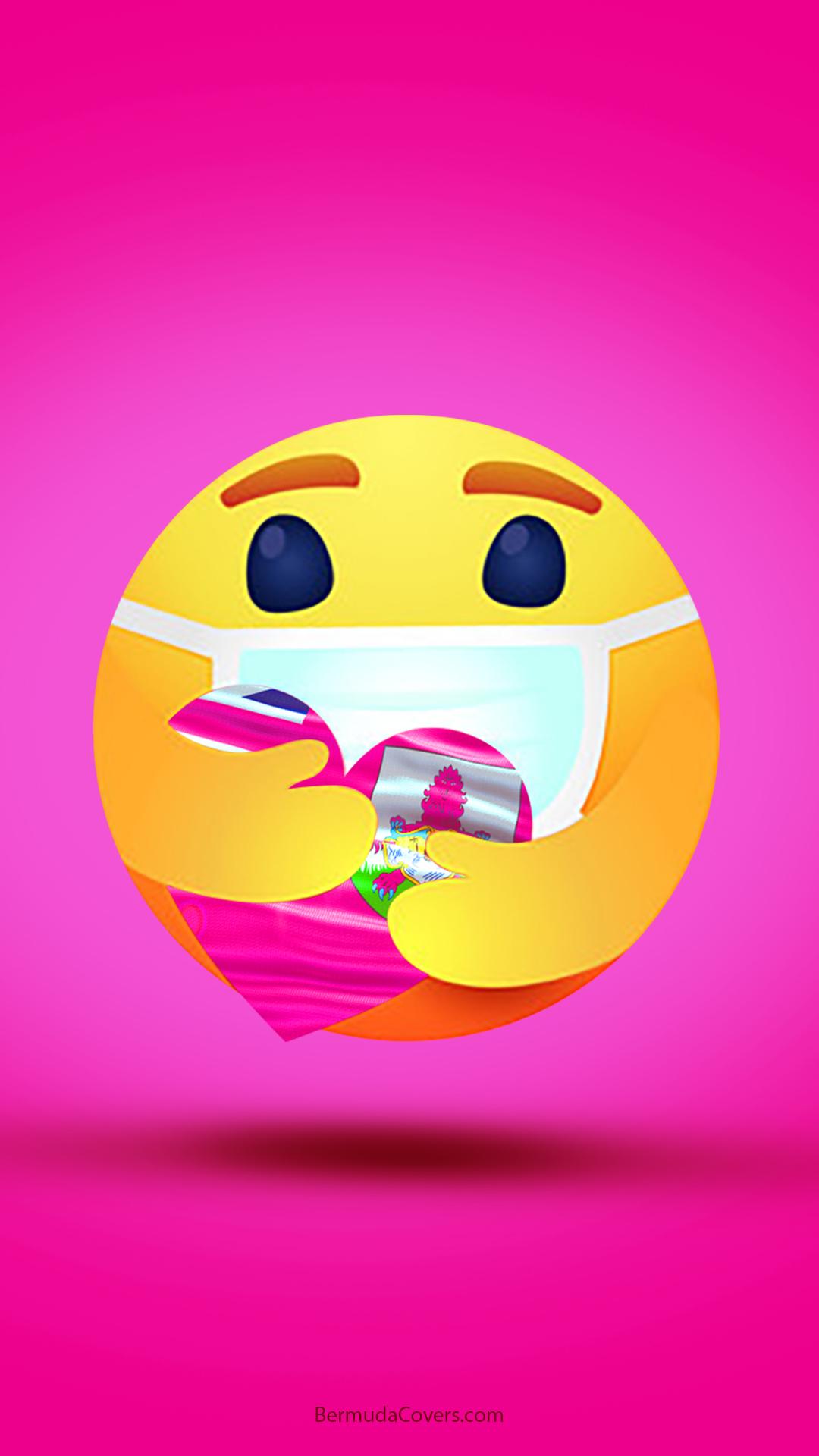 Emoji Heart Hug Mask Bermuda Bernews Mobile phone wallpaper lock screen design image photo YyDNzgkN