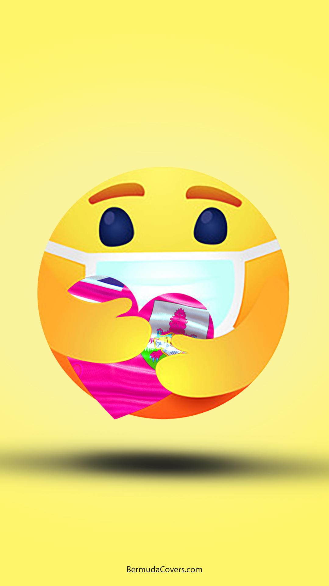 Emoji Heart Hug Mask Bermuda Yellow Bernews Mobile phone wallpaper lock screen design image photo YyDNzgkN yellow