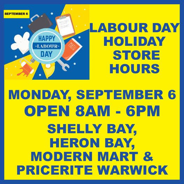 MarketPlace Labour Day Holiday Store Hours Bermuda Sept 2021