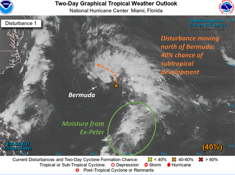 NHC Two-Day Graphical Tropical Weather Outlook Bermuda Sept 2021