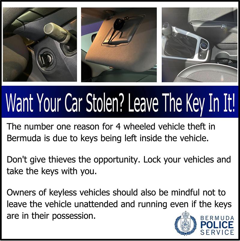 Police Reminder On Vehicle Theft Bermuda Sept 2021