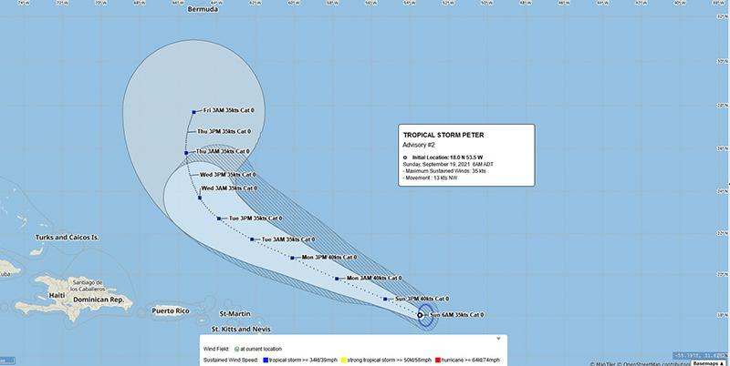 Tropical Storm Peter Bermuda September 19 2021 BWS