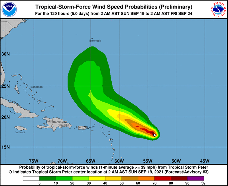 Tropical Storm Peter Bermuda September 19 2021 NHC