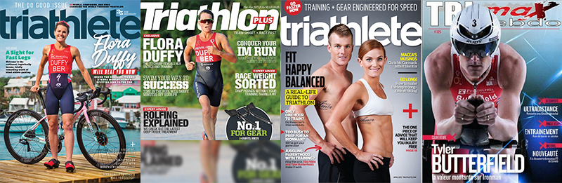 International triathlon magazine covers featuring Flora Duffy and Tyler Butterfield